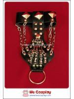 สร้อยข้อมือพร้อมห่วงวงแหวนพังค์ Punk Wristband and Ring ตอกหมุดเงิน ประดับด้วยมือกระดูกผี