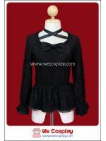 เสื้อพังค์โลลิต้าทไวไลท์ ติดลูกไม้สีดำ Twilight Lace-On Cutsew