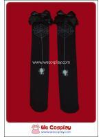 ถุงน่องโกธิคโลลิต้าสีดำยาวเหนือเข่าลายแมงมุมและใยแมงมุม ติดลูกไม้สีดำ