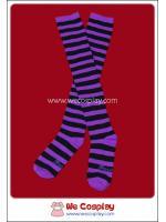 ถุงเท้าโกธิคโลลิต้าพังค์ ยาวเหนือเข่า ลายขวาง สีม่วงดำ