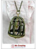 สร้อยคอโกธิคโลลิต้า จี้กรงนก สีทองโบราณ Gothic Lolita Necklace