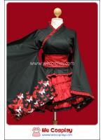 ยูกาตะโกธิคโลลิต้า สีดำแดง ลายผีเสื้อ Butterfly Print Gothic Lolita Yukata