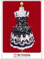 จัมเปอร์สเกิร์ตสวีทโลลิต้า สีดำ Black Sweet Lolita Soft Cream Jumper Skirt