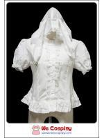 เสื้อโกธิคโลลิต้า มีฮู้ดหูกระต่าย สีขาว White Rabbit Hood Gothic Lolita Blouse