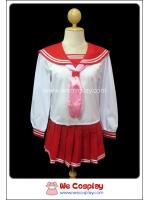 ชุดนักเรียนญี่ปุ่นแขนยาว ปกกะลาสีแดง ผ้าพันคอสีชมพู