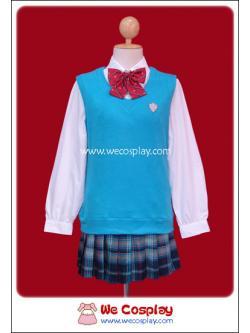 ชุดนักเรียนญี่ปุ่นฤดูหนาว แขนยาว เสื้อสเวตเตอร์สีฟ้า (Japanese Winter School Uniform)