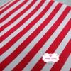 ผ้าคอตตอนไทย 100% 1/4 ม.(50x55ซม.) พื้นสีแดง ลายทาง