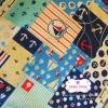 ผ้าคอตตอนไทย 100% 1/4 ม.(50x55ซม.) ลายสมอเรือ โทนสีฟ้า