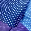 ผ้าคอตตอนไทย 100% 1/4 ม.(50x55ซม.) พื้นสีน้ำเงิน ลายจุดสีขาว