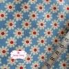 ผ้าคอตตอนไทย 100% 1/4ม.(50x55ซม.) พื้นสีฟ้า ลายดอกไม้สีขาว
