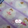 ผ้าคอตตอนไทย 100% 1/4 ม.(50x55ซม.) พื้นสีม่วง ลายตุ๊กตาเต้นระบำ