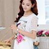 เสื้อแฟชั่นเกาหลี สกรีนลายสวยๆ แต่งแขนด้วยผ้าซีทรูลายโดดเด่น