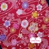 ผ้าคอตตอนญี่ปุ่น 100% 1/4ม.(50x55ซม.) พื้นสีแดง ลายซากุระ
