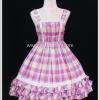 จัมเปอร์สเกิร์ตโลลิต้า ลายสก๊อตสีชมพู Pink Plaid Lolita Jumper Skirt