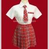 ชุดนักเรียนญี่ปุ่น แขนสั้น ผูกเนคไท กระโปรงลายสก็อตสีแดง