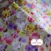 ผ้าคอตตอนไทย 100% 1/4 ม.(50x55ซม.) ลายดอกกุหลาบ พื้นสีเหลือง