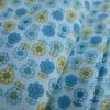 ผ้าคอตตอนไทย 100% 1/4 ม.(50x55ซม.) พื้นสีฟ้า ลายดอกไม้
