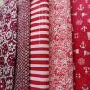 Set 5 ชิ้น : ผ้าคอตตอน 100% โทนสีแดง 5 ลาย ชิ้นละ1/8 ม.(50x27.5ซม.)