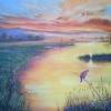ภาพวาดสีน้ำมัน ท้องฟ้าสีทอง