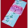 ยูกาตะผู้หญิง พื้นสีฟ้า ลายดอกไม้ โอบิสีชมพู