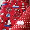 ผ้าคอตตอนลินิน 1/4ม.(50x55ซม.) พื้นสีแดง ลายสมอเรือ