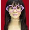 แว่นตาพลาสติก กรอบกลมสีชมพู เลนส์ใส Fancy Cosplay Glasses