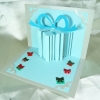 A18 การ์ดป๊อปอัพไดคัท กล่องของขวัญสีฟ้า