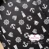 ผ้าคอตตอนไทย 100% 1/4 ม.(50x55ซม.) พื้นสีดำ ลายสมอเรือสีขาว