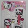 รัดสายไฟ คิตตี้ ใส่แว่น สีชมพู kitty