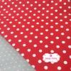 ผ้าคอตตอนไทย 100% 1/4 เมตร พื้นสีแดง ลายจุดใหญ่สีขาว