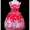 จัมเปอร์สเกิร์ตสวีทโลลิต้า สแควเรลปาร์ตี้ สีแดง Red Squirrel Party Sweet Lolita Jumper Skirt
