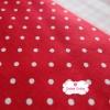 ผ้าคอตตอนลินิน 100% 1/4 เมตร พื้นสีแดงลายจุดสีขาว