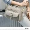 กระเป๋าหนัง PU สีเทาแบบหนังกลับ สวยโดดเด่น พร้อมช่องใส่ของอย่างจุใจ