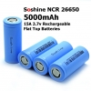Soshine INR26650 5000mAh 15A 3.7v Rechargeable Flat Top Batteries