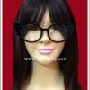 แว่นตาทรงปีกนก สีดำ เลนส์ใส Fancy Cosplay Glasses