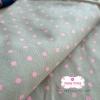 ผ้าคอตตอนลินิน 1/4ม.(50x55ซม.) พื้นสีเทา ลายจุดสีชมพู