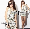 Lady Spring Floral Graphic Painting Jumpsuit