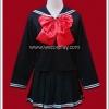 ชุดนักเรียนญี่ปุ่น แขนยาว สีดำ โบว์แดง