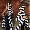 พร้อมส่ง ::MO247:: เสื้อคลุมแฟชั่นตัวยาว ลายขวางสีขาวสลับดำ มีฮูด แบบน่ารัก ไซต์ L