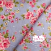 ผ้าคอตตอนไทย 100% 1/4 ม.(50x55ซม.) พื้นสีฟ้า ลายดอกไม้สีชมพู