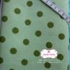 ผ้าคอตตอนลินิน 1/4ม.(50x55ซม.) พื้นสีเขียวอ่อน ลายจุดใหญ่สีเขียวเข้ม
