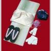 ยูกาตะผู้หญิง พื้นสีเหลือบเขียวครีม โอบิสีครีม พร้อมถุงใส่ของ รองเท้าเกตะ