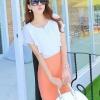 เดรสสั้นเกาหลี มาแบบตัดเย็บทูโทน เสื้อสีขาวเข้าคู่กับกระโปรงสีสวย ใส่สบายด้วยผ้าแบบชีฟอง