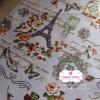ผ้าคอตตอนไทย 100% 1/4 ม.(50x55ซม.) ลายวินเทจหอไอเฟล