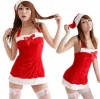 xm002 ชุดแฟนซี ชุดซานต้าสาว ชุดแซกผ้ากำมะหยี่พร้อมหมวก
