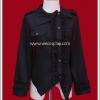 เสื้อเชิ้ตพังค์แบล็คโรบิน สีดำ (Black Robin Punk Shirt)