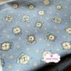 ผ้าคอตตอนเกาหลีแท้ 100% 1/4 เมตร (50x55 cm.) พื้นสีฟ้า ลายนาฬิกาคลาสสิค