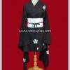 ชุดกิโมโนแบบสั้น แขนยาวสีดำ ลายซากุระขาว Long-Sleeved Black Short Kimono