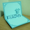 A51 การ์ดป๊อปอัพ Happy BirthDay สีฟ้ามุก