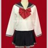 ชุดนักเรียนญี่ปุ่น แขนยาว สีขาว ปกกะลาสี โบว์แดง
